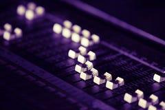 Sound mixer board. Macro photo Royalty Free Stock Photography