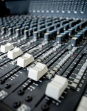 Sound mixer board switches Stock Photography