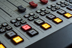 Sound mixer with burning red button Royalty Free Stock Photography