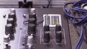 Sound mixer. With cables and a lot of knobs Royalty Free Stock Photos