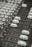 Sound Mixer. A Close Up Photo of a Multi Channel Sound Mixer Stock Images