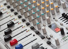 Sound Mixer. Close up photo of a multi channel sound mixer vector illustration