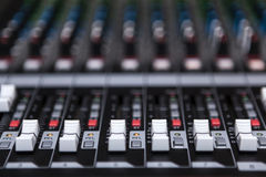 Sound Mixer. Close up view modern style Royalty Free Stock Photography