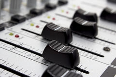 Sound mixer. Closeup of knobs of a sound mixer Royalty Free Stock Image