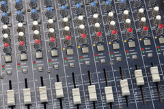 Sound Mixer Console. Close up multi color buttons of sound mixer console Stock Image