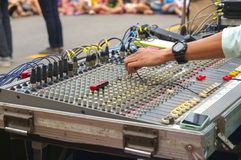 Sound mixer console. Royalty Free Stock Images