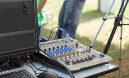 Sound mixer console. Stock Photo