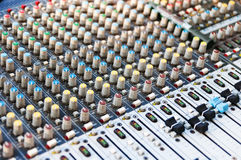 Sound Mixer Control Equipment. Sound Equalizer. Profesional studio equipment for sound mixing. Profesional sound Stock Image