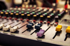 Sound mixer control panel, audio controls. Close-upю Focus on Effect word Royalty Free Stock Photo