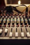 Sound mixer control panel, audio controls. Close-up Royalty Free Stock Photography