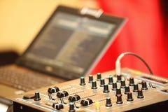 Sound mixer control panel audio mixing console Stock Image