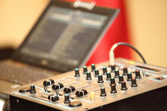Sound mixer control panel audio mixing console Stock Photography