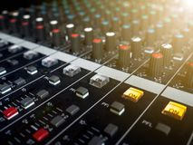 Sound mixer control panel, buttons equipment for sound mixer control, Sound mixer control for live music and studio equipment Royalty Free Stock Photo