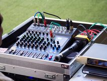 Sound mixer control panel, buttons equipment for sound mixer control, Sound mixer control for live music and studio equipment. Stock Image