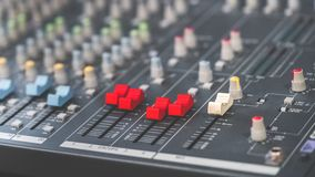 Sound mixer control panel buttons royalty free stock images