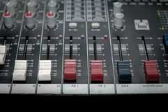 Sound mixer control panel Royalty Free Stock Photos