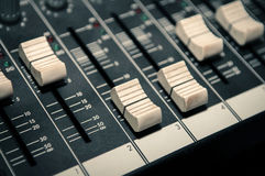 Sound mixer control panel Stock Photo