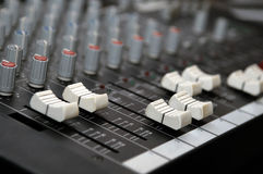 Sound mixer control panel Royalty Free Stock Image