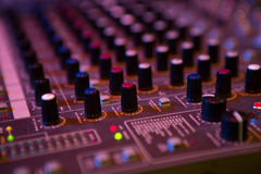 Sound mixer control panel, close-up audio controls Royalty Free Stock Images