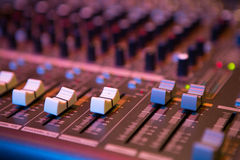 Sound mixer control panel, close-up audio controls Royalty Free Stock Photos