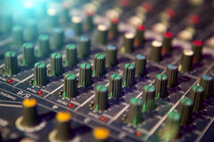 Sound mixer control panel, close-up audio controls Stock Images