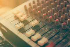 Sound mixer control panel. Close-up of audio controls stock images