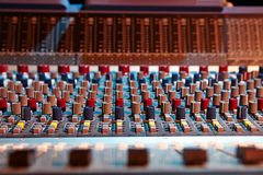 Sound mixer control panel. Close-up of audio controls royalty free stock images