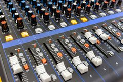 Sound mixer control panel. royalty free stock images