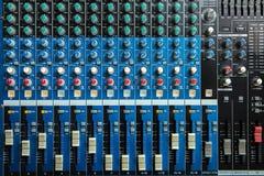 Sound mixer. Control panel, closeup Stock Image