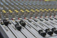 Sound mixer control panel. Closeup of audio faders Stock Photos