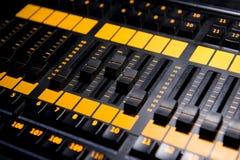 Sound mixer control panel prodaction, close up. stock image