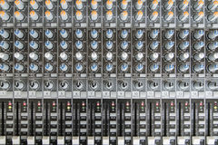 Sound mixer control panel. Sound controller Recording Studio. Royalty Free Stock Photos