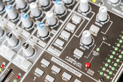 Sound mixer control panel. Sound controller Recording Studio. Stock Photography