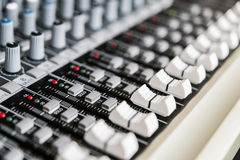 Sound mixer control panel. Sound controller Recording Studio. Stock Image