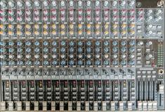 Sound mixer control panel. Sound controller Recording Studio. Royalty Free Stock Photography