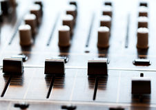 Sound mixer controller with knobs and sliders Royalty Free Stock Photos