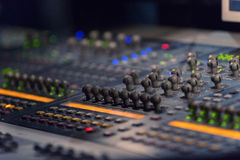 Sound mixer controller with knobs and sliders Royalty Free Stock Image