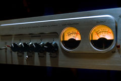 Sound mixer equalizer with many buttons and vu meter in recordin Royalty Free Stock Photography