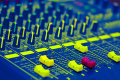 Sound mixer faders Stock Photos