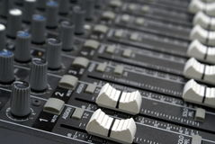Sound mixer faders Royalty Free Stock Image