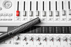 Sound mixer with hi-fi condenser microphone Stock Photo