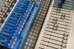 Sound mixer with many buttons Royalty Free Stock Photo
