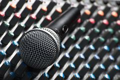 Sound mixer with a microphone. Part of an audio sound mixer with a microphone royalty free stock image
