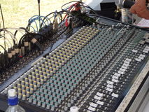 A sound mixer at the mount gay music fest on bequia Royalty Free Stock Photography