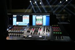 Sound mixer, at night party stock images