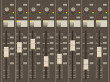 Sound mixer pult. Faders and regulators. Eight channels royalty free illustration