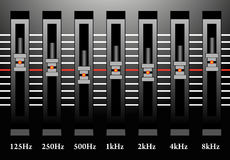 Sound mixer station. With red lights royalty free illustration