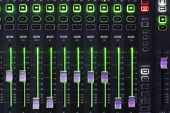 Sound Mixer System with Light. Main Mixer Board of Sound System with Working Light Operating royalty free stock images