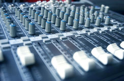 Sound mixer toned in blue royalty free stock image