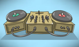 Sound Mixer And Turntables Cartoon Illustration.  Vector Graphic Royalty Free Stock Image